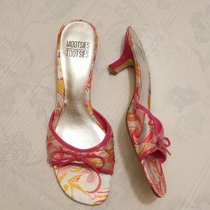 Mootsies Tootsies pink 2 inch fabric bow heels Rk